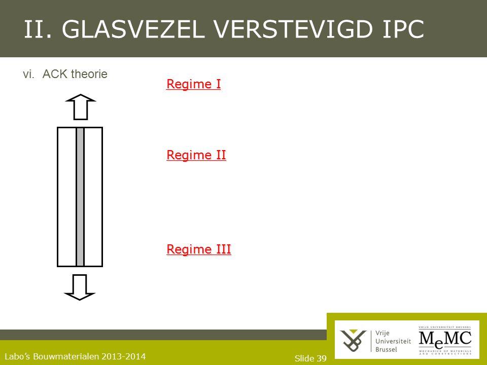 Slide 39 Labo's Bouwmaterialen 2013-2014 II. GLASVEZEL VERSTEVIGD IPC vi.ACK theorie Regime I Regime II Regime III