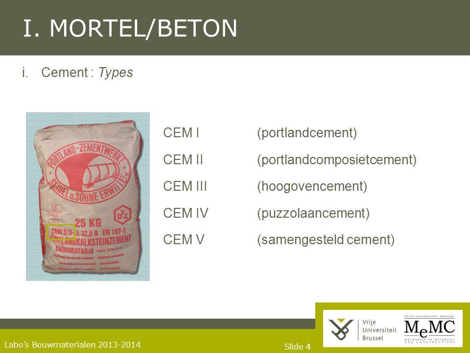 Slide 44 Labo's Bouwmaterialen 2013-2014 I. MORTEL/BETON i. Cement : Types CEM I (portlandcement) CEM II (portlandcomposietcement) CEM III(hoogovencem