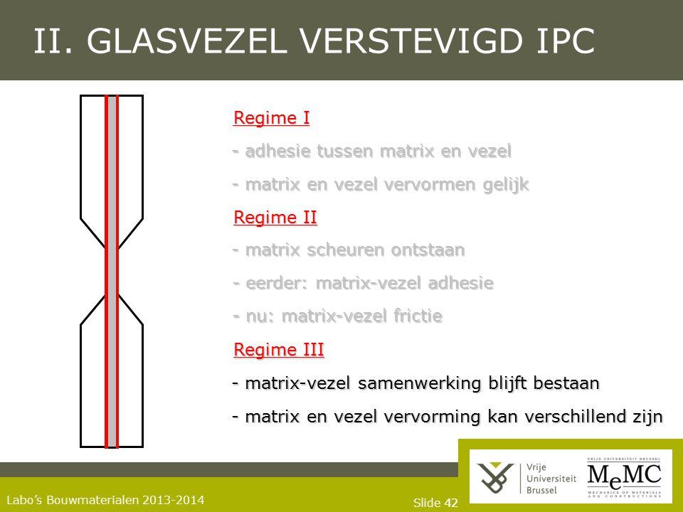 Slide 42 Labo's Bouwmaterialen 2013-2014 II. GLASVEZEL VERSTEVIGD IPC Regime I Regime II Regime III - matrix scheuren ontstaan - eerder: matrix-vezel
