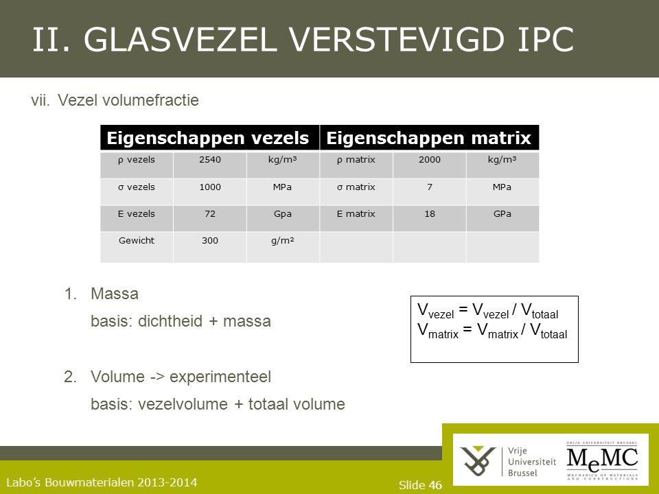 Slide 46 Labo's Bouwmaterialen 2013-2014 II. GLASVEZEL VERSTEVIGD IPC vii.Vezel volumefractie 1.Massa basis: dichtheid + massa 2.Volume -> experimente
