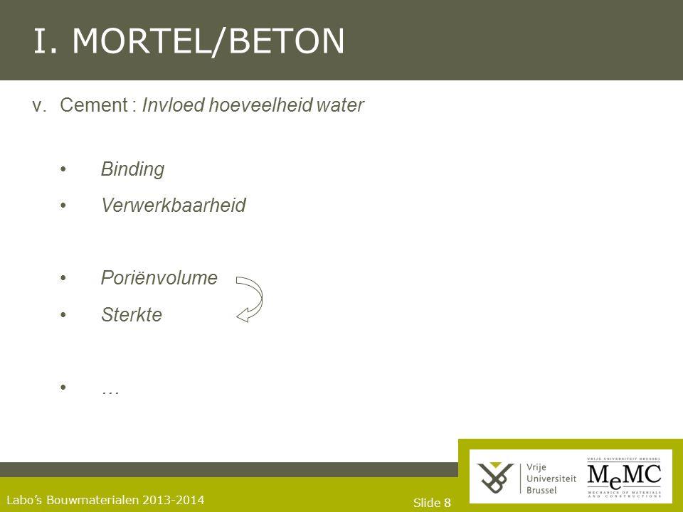 Slide 88 Labo's Bouwmaterialen 2013-2014 I. MORTEL/BETON v.Cement : Invloed hoeveelheid water Binding Verwerkbaarheid Poriënvolume Sterkte …