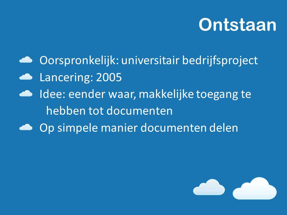 Ontstaan Oorspronkelijk: universitair bedrijfsproject Lancering: 2005 Idee: eender waar, makkelijke toegang te hebben tot documenten Op simpele manier documenten delen