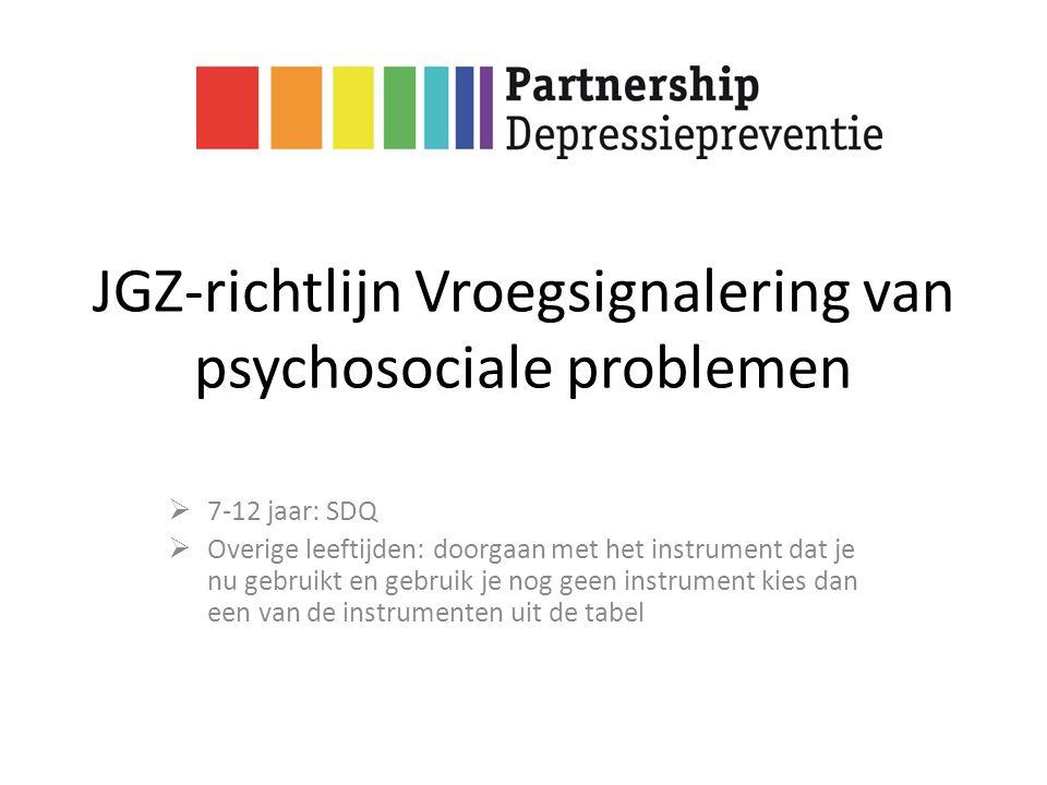 JGZ-richtlijn Vroegsignalering van psychosociale problemen  7-12 jaar: SDQ  Overige leeftijden: doorgaan met het instrument dat je nu gebruikt en ge