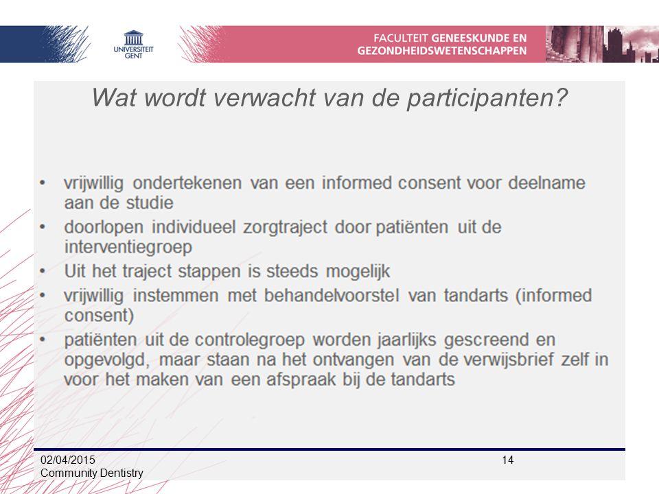 Wat wordt verwacht van de participanten? 02/04/2015 14 Community Dentistry