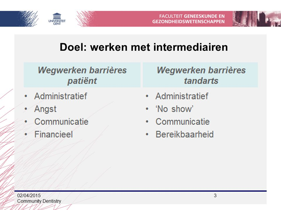 02/04/2015 3 Community Dentistry Doel: werken met intermediairen