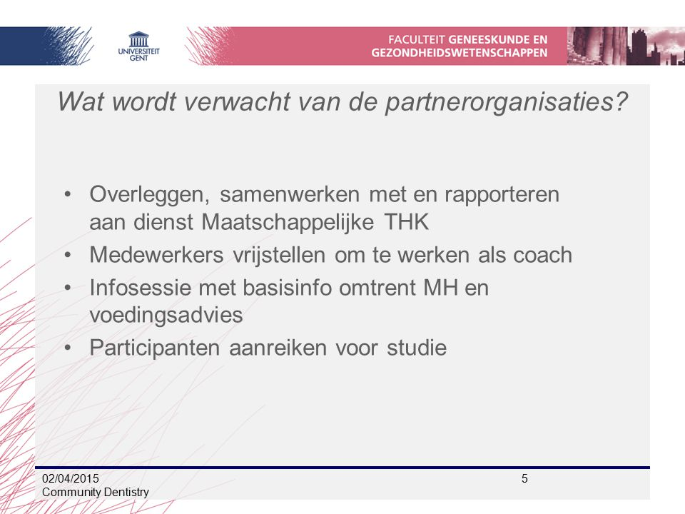 Wat wordt verwacht van de partnerorganisaties.