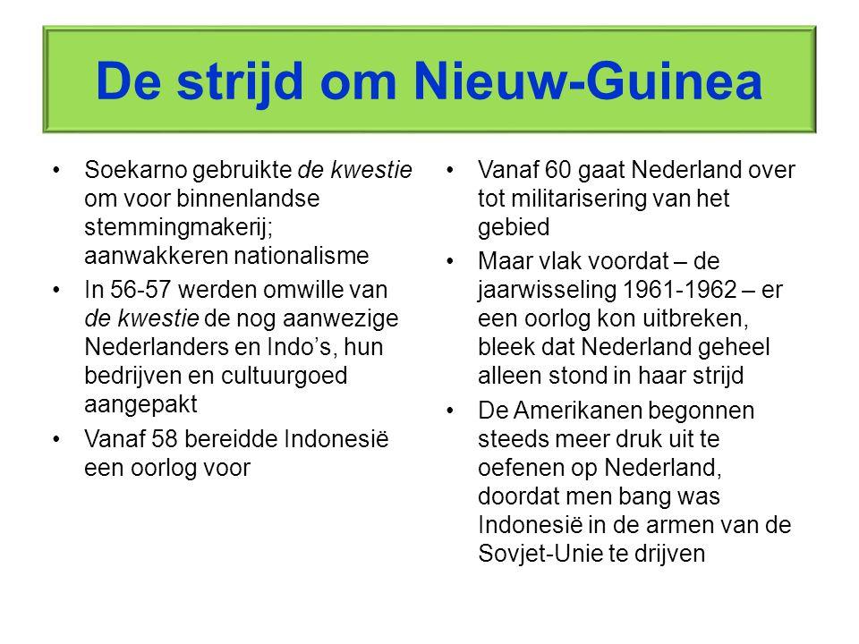 Het einde van een lang koloniaal verhaal September 1962 legt de Nederlandse regering zich neer bij het onvermijdelijke –1 Oktober draagt men het bestuur over aan de VN, die op haar beurt het bestuur weer overdroeg aan Indonesie, op 1 mei 1963 In 1963 werden de diplomatieke banden tussen beide landen weer aangeknoopt, maar echt hartelijk zijn deze nog steeds niet, en zeker niet tot aan de jaren negentig van de vorige eeuw