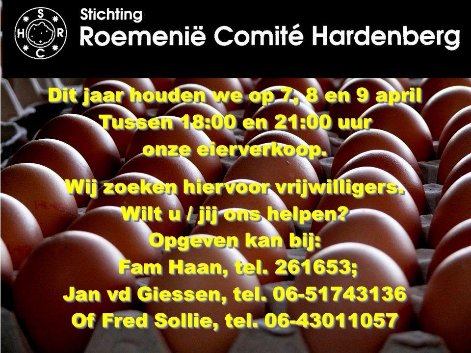 Dit jaar houden we op 7, 8 en 9 april Tussen 18:00 en 21:00 uur onze eierverkoop. Wij zoeken hiervoor vrijwilligers. Wilt u / jij ons helpen? Opgeven