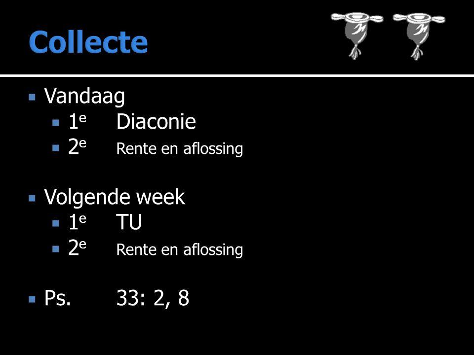  Vandaag  1 e Diaconie  2 e Rente en aflossing  Volgende week  1 e TU  2 e Rente en aflossing  Ps.33: 2, 8