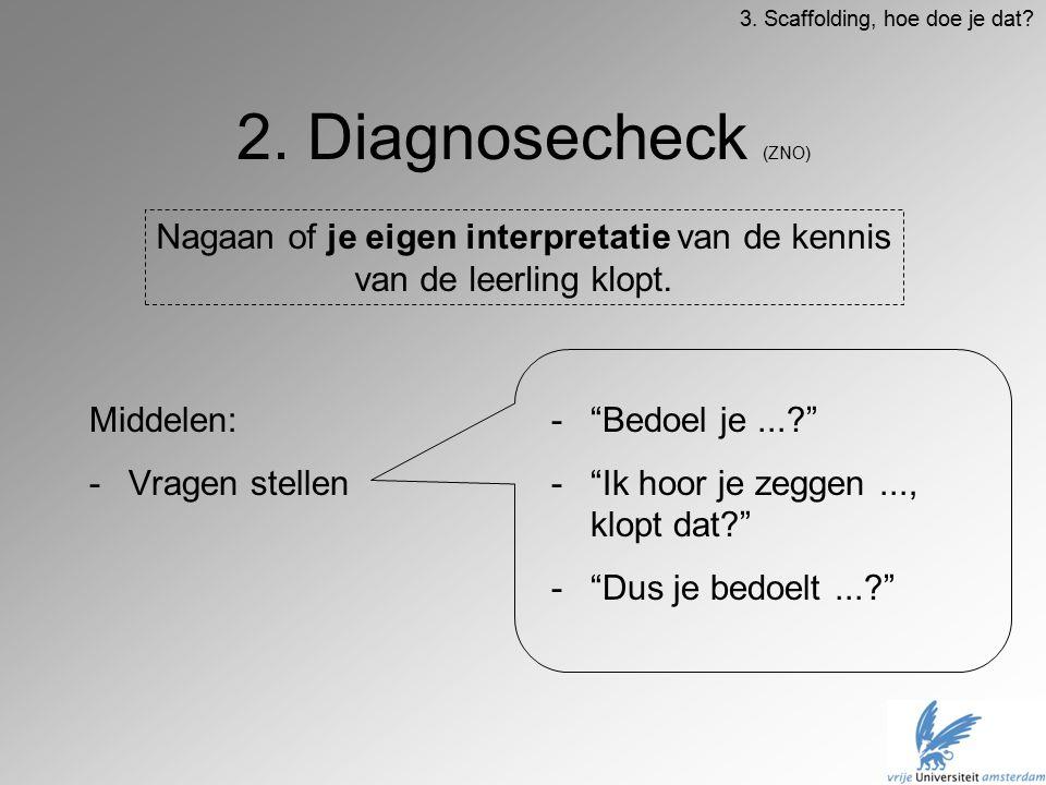 """2. Diagnosecheck (ZNO) Middelen: -Vragen stellen -""""Bedoel je...?"""" -""""Ik hoor je zeggen..., klopt dat?"""" -""""Dus je bedoelt...?"""" Nagaan of je eigen interpr"""