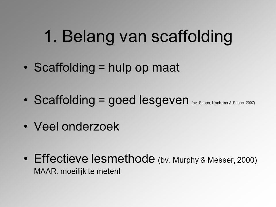 1. Belang van scaffolding Scaffolding = hulp op maat Scaffolding = goed lesgeven (bv. Saban, Kocbeker & Saban, 2007) Veel onderzoek Effectieve lesmeth