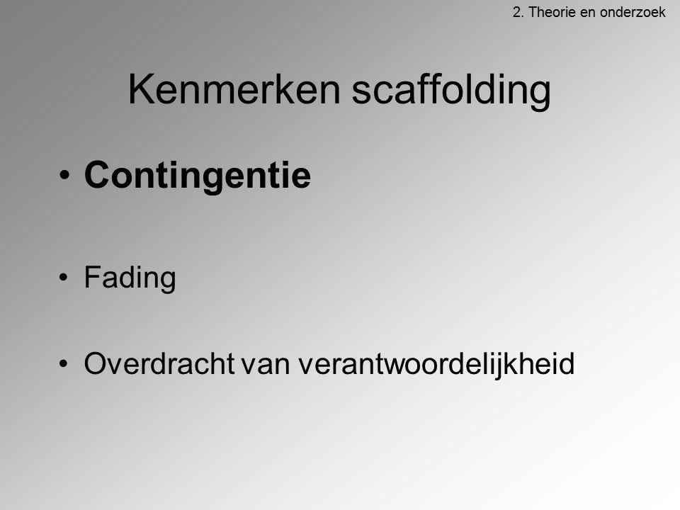 Kenmerken scaffolding Contingentie Fading Overdracht van verantwoordelijkheid 2. Theorie en onderzoek