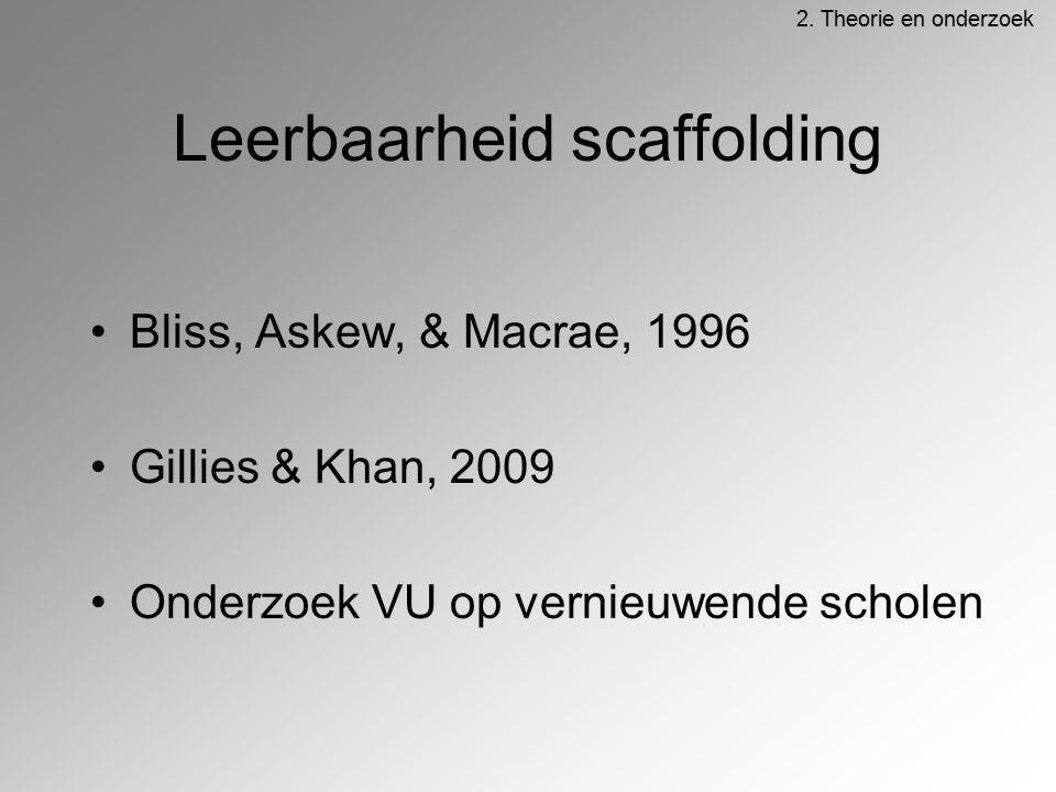 Leerbaarheid scaffolding Bliss, Askew, & Macrae, 1996 Gillies & Khan, 2009 Onderzoek VU op vernieuwende scholen 2. Theorie en onderzoek