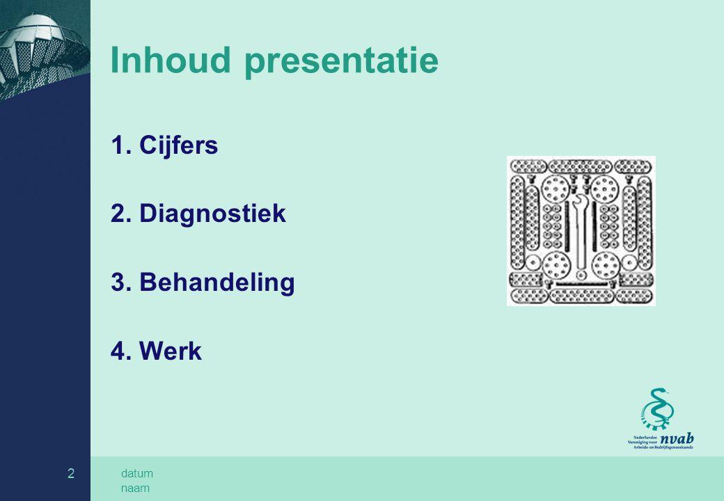 datum naam 2 Inhoud presentatie 1. Cijfers 2. Diagnostiek 3. Behandeling 4. Werk