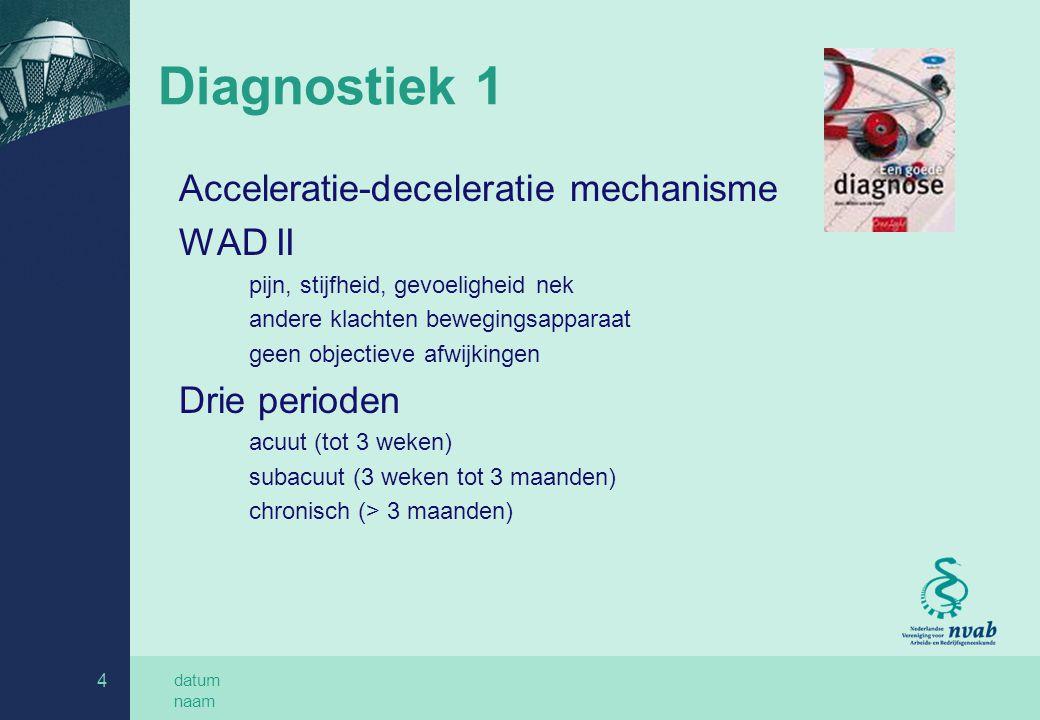 datum naam 4 Diagnostiek 1 Acceleratie-deceleratie mechanisme WAD II pijn, stijfheid, gevoeligheid nek andere klachten bewegingsapparaat geen objectieve afwijkingen Drie perioden acuut (tot 3 weken) subacuut (3 weken tot 3 maanden) chronisch (> 3 maanden)