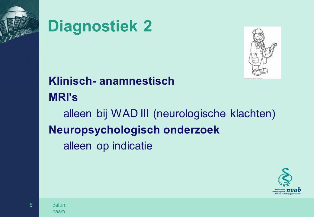 datum naam 5 Diagnostiek 2 Klinisch- anamnestisch MRI's alleen bij WAD III (neurologische klachten) Neuropsychologisch onderzoek alleen op indicatie