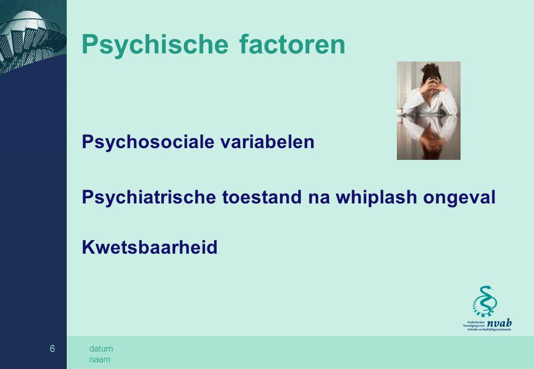 datum naam 6 Psychische factoren Psychosociale variabelen Psychiatrische toestand na whiplash ongeval Kwetsbaarheid