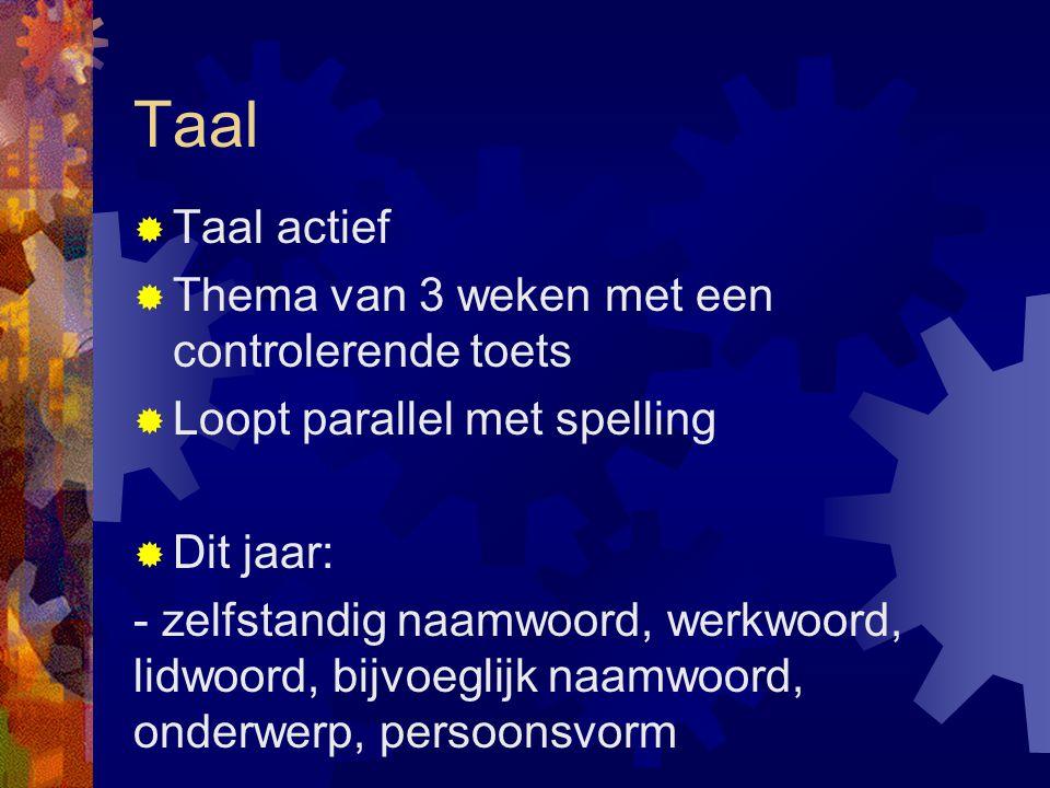 Taal  Taal actief  Thema van 3 weken met een controlerende toets  Loopt parallel met spelling  Dit jaar: - zelfstandig naamwoord, werkwoord, lidwo