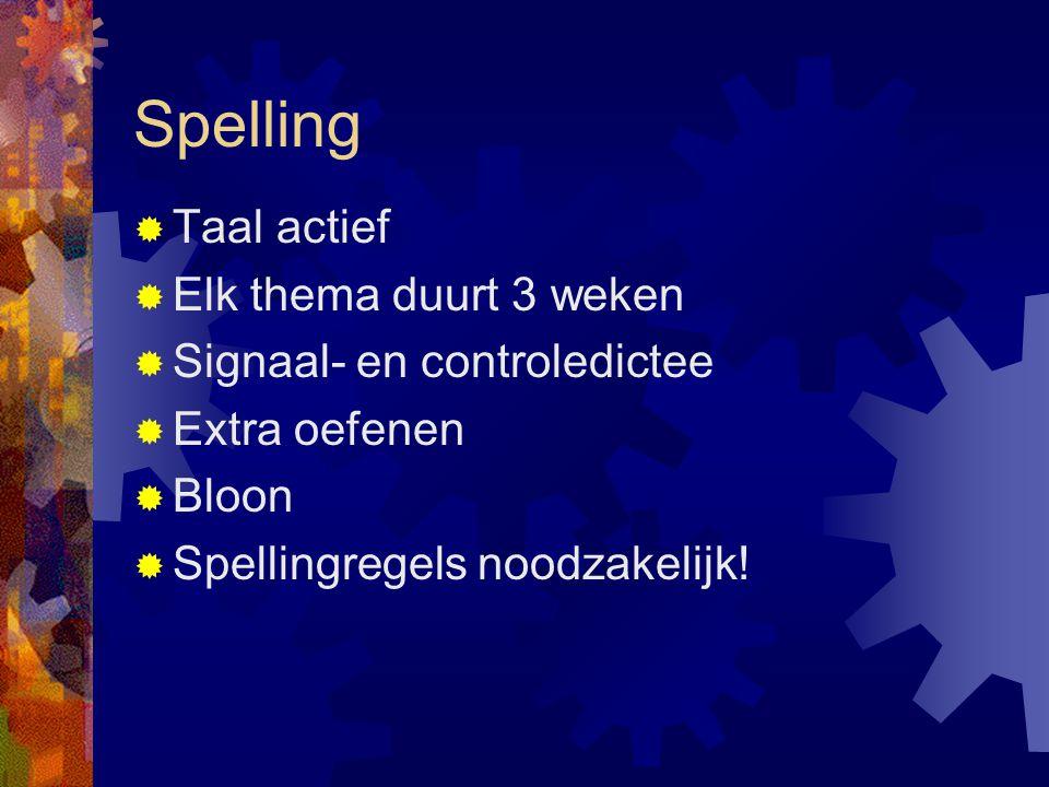 Spelling  Taal actief  Elk thema duurt 3 weken  Signaal- en controledictee  Extra oefenen  Bloon  Spellingregels noodzakelijk!