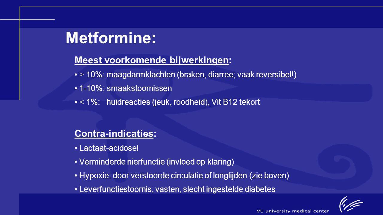 Metformine: Meest voorkomende bijwerkingen: > 10%: maagdarmklachten (braken, diarree; vaak reversibel!) 1-10%: smaakstoornissen < 1%: huidreacties (je