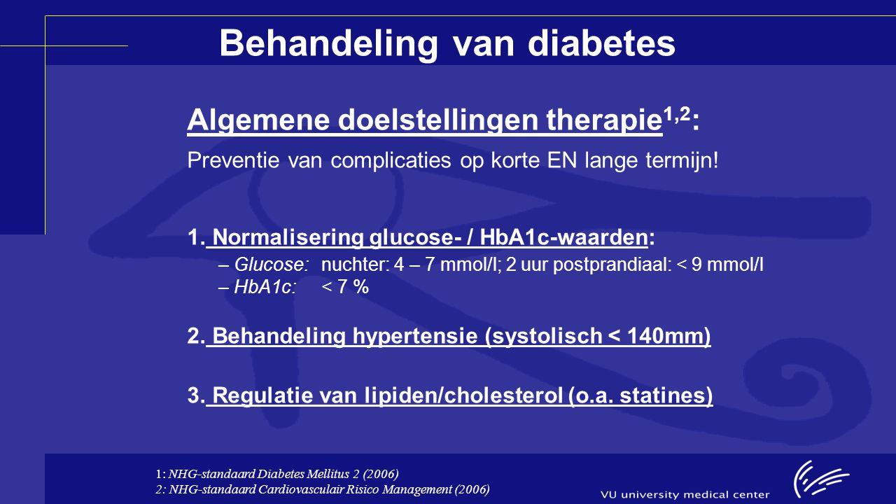 Farmacotherapeutische opties: Diabetes type 1: Insulines: –Kortwerkend –Middellangwerkend –Langwerkend –Bi-fasische mengsels Diabetes type 2: Metformine Sulfonylureum-derivaten Thiazolidinedionen Dipeptidylpeptidase-4-remmers Glucagonachtig peptide-1-agonisten Insulines