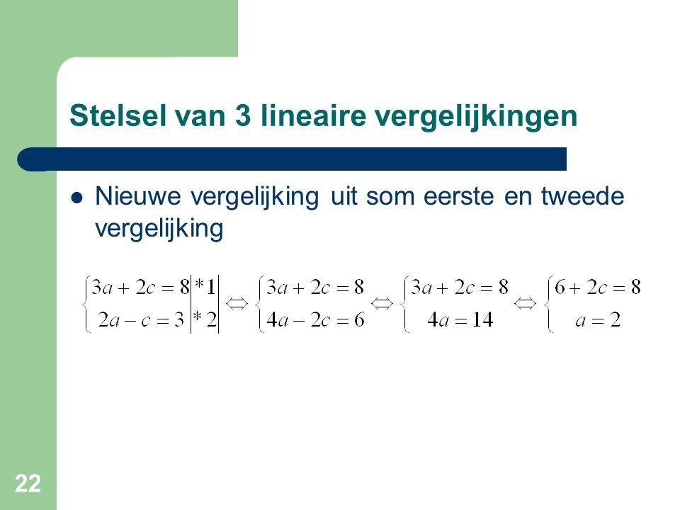 22 Stelsel van 3 lineaire vergelijkingen Nieuwe vergelijking uit som eerste en tweede vergelijking