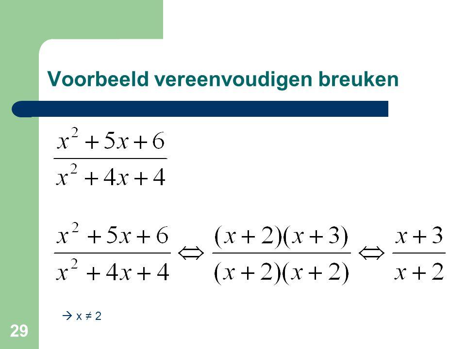29 Voorbeeld vereenvoudigen breuken  x ≠ 2