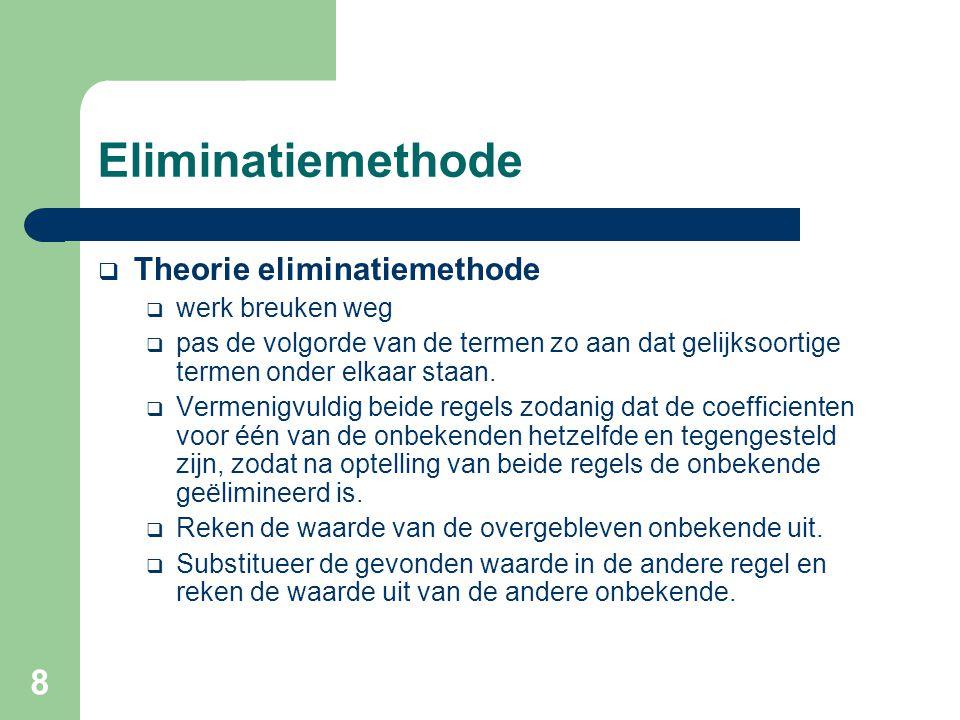 8 Eliminatiemethode  Theorie eliminatiemethode  werk breuken weg  pas de volgorde van de termen zo aan dat gelijksoortige termen onder elkaar staan