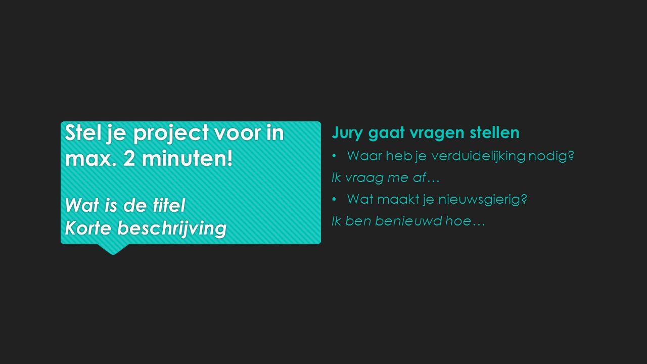 Stel je project voor in max. 2 minuten.