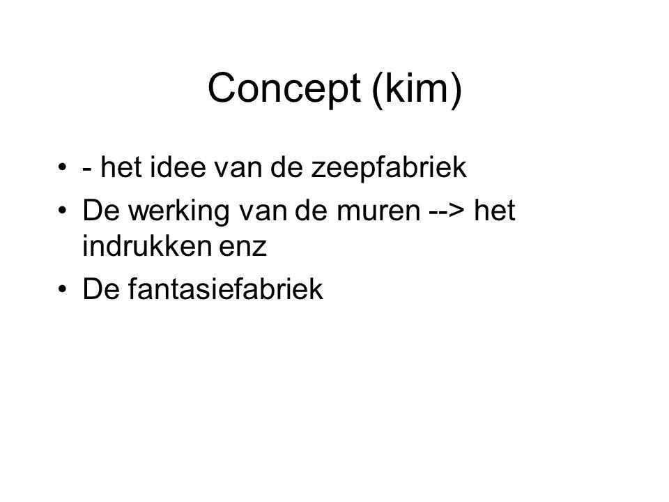 Concept (kim) - het idee van de zeepfabriek De werking van de muren --> het indrukken enz De fantasiefabriek