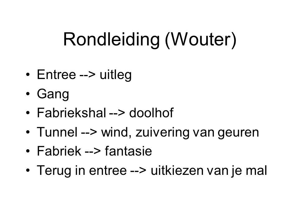 Rondleiding (Wouter) Entree --> uitleg Gang Fabriekshal --> doolhof Tunnel --> wind, zuivering van geuren Fabriek --> fantasie Terug in entree --> uit