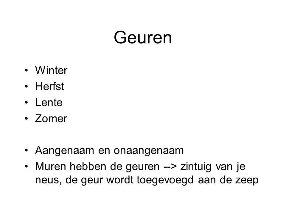 Kleuren Winter = blauw Herfst = groen Lente = geel Zomer = rood Allemaal tinten, werken met zicht zintuig
