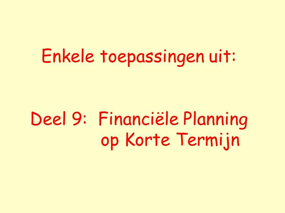 Enkele toepassingen uit: Deel 9: Financiële Planning op Korte Termijn