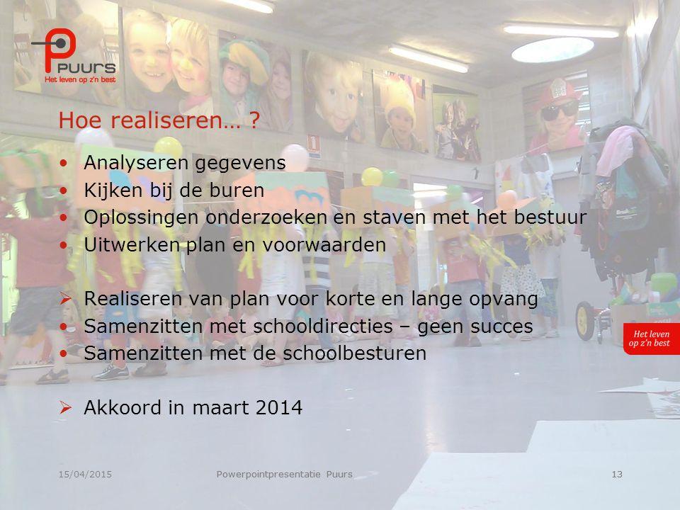 15/04/2015Powerpointpresentatie Puurs13 Hoe realiseren… .