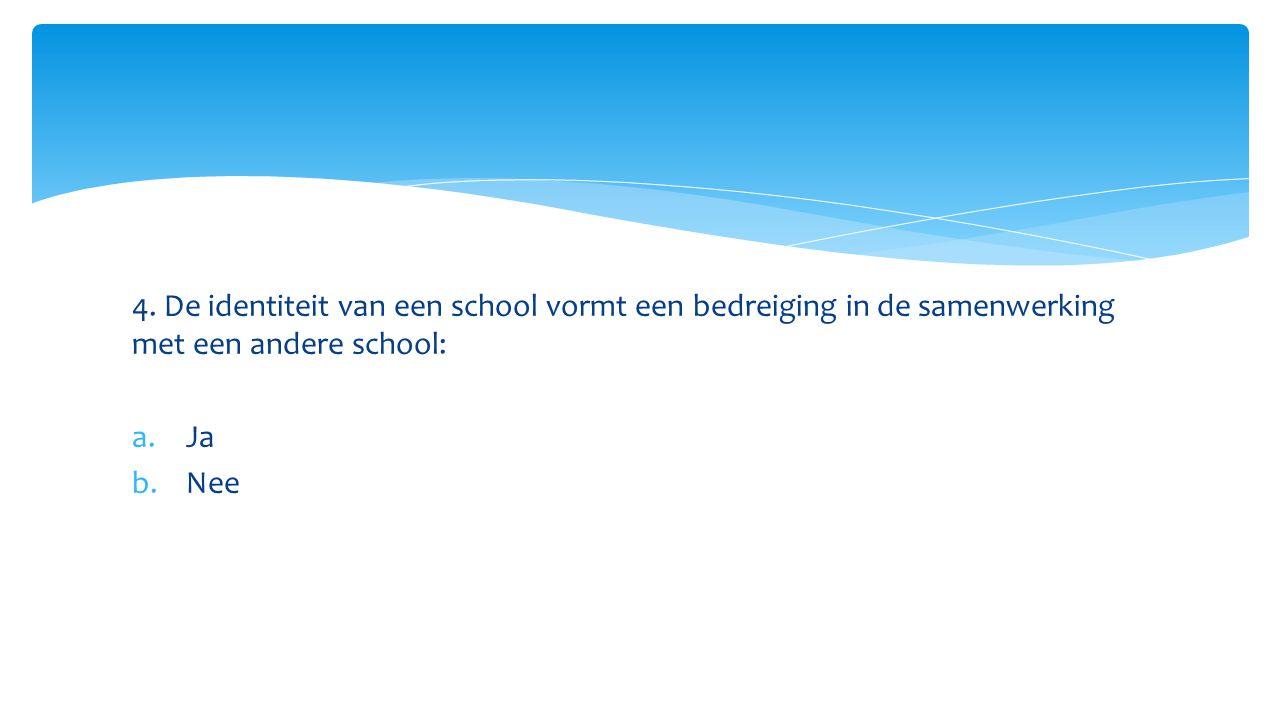 4. De identiteit van een school vormt een bedreiging in de samenwerking met een andere school: a.Ja b.Nee