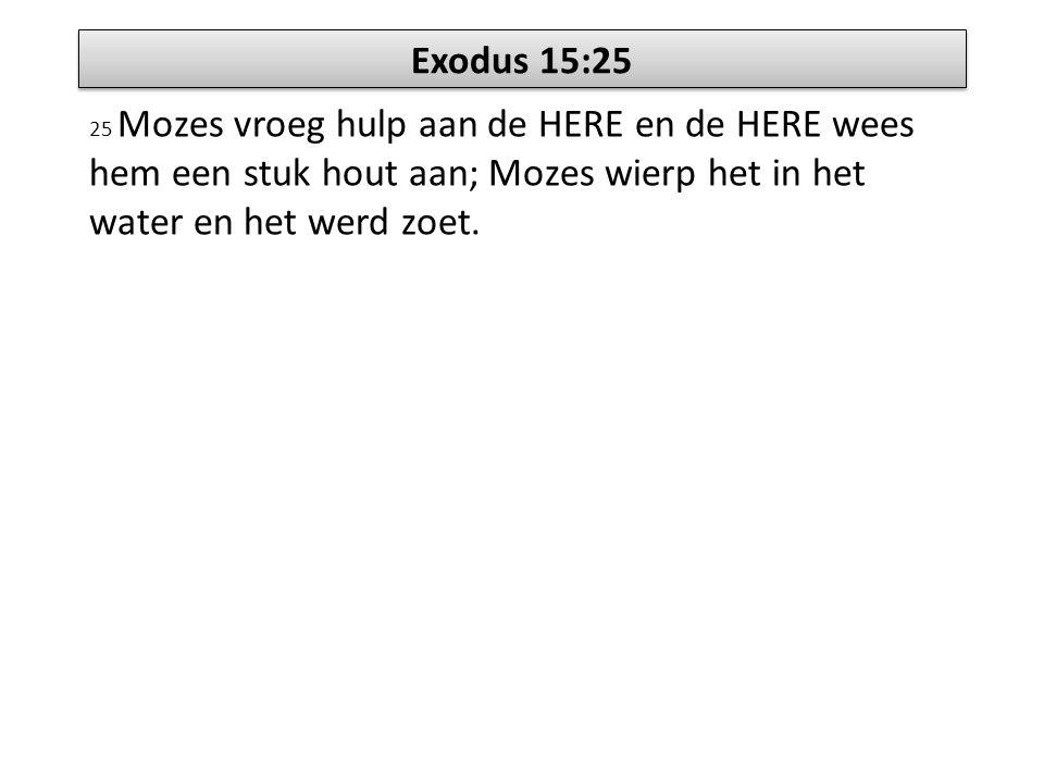 Exodus 15:25 25 Mozes vroeg hulp aan de HERE en de HERE wees hem een stuk hout aan; Mozes wierp het in het water en het werd zoet.