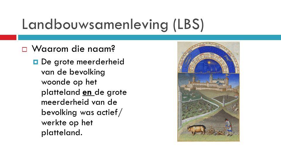 Landbouwsamenleving (LBS)  Waarom die naam?  De grote meerderheid van de bevolking woonde op het platteland en de grote meerderheid van de bevolking