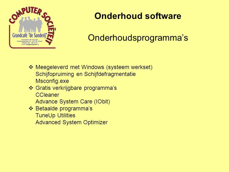 Schijfopruiming Onderhoud software Schijfdefragmentatie