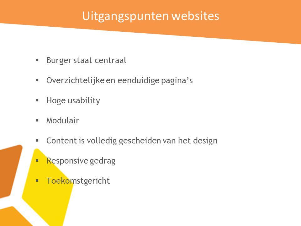 Uitgangspunten websites  Burger staat centraal  Overzichtelijke en eenduidige pagina's  Hoge usability  Modulair  Content is volledig gescheiden van het design  Responsive gedrag  Toekomstgericht