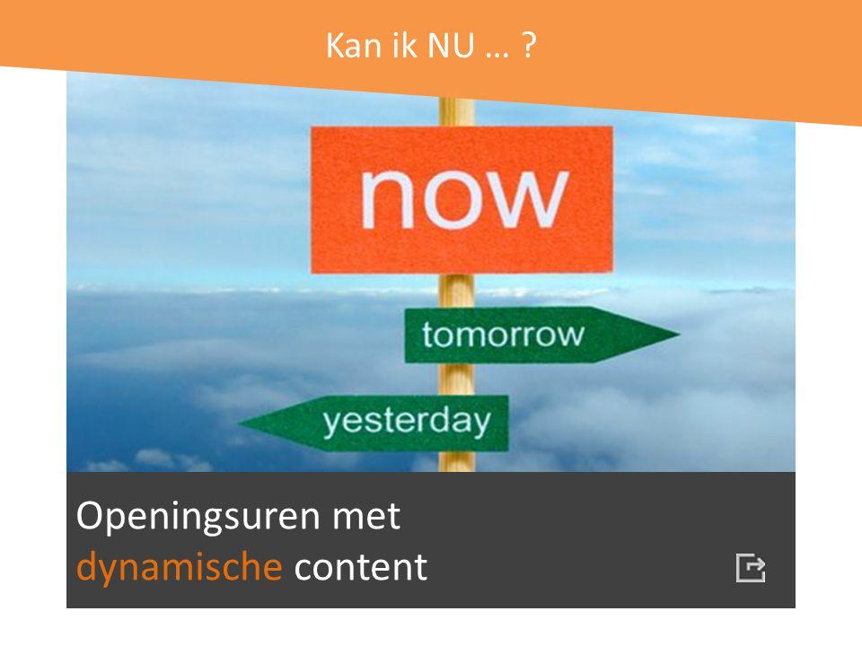 Kan ik NU … Openingsuren met dynamische content