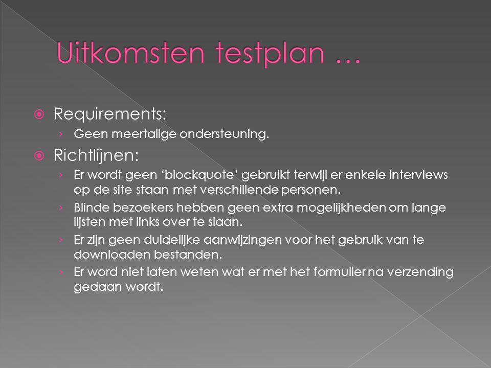  Requirements: › Geen meertalige ondersteuning.