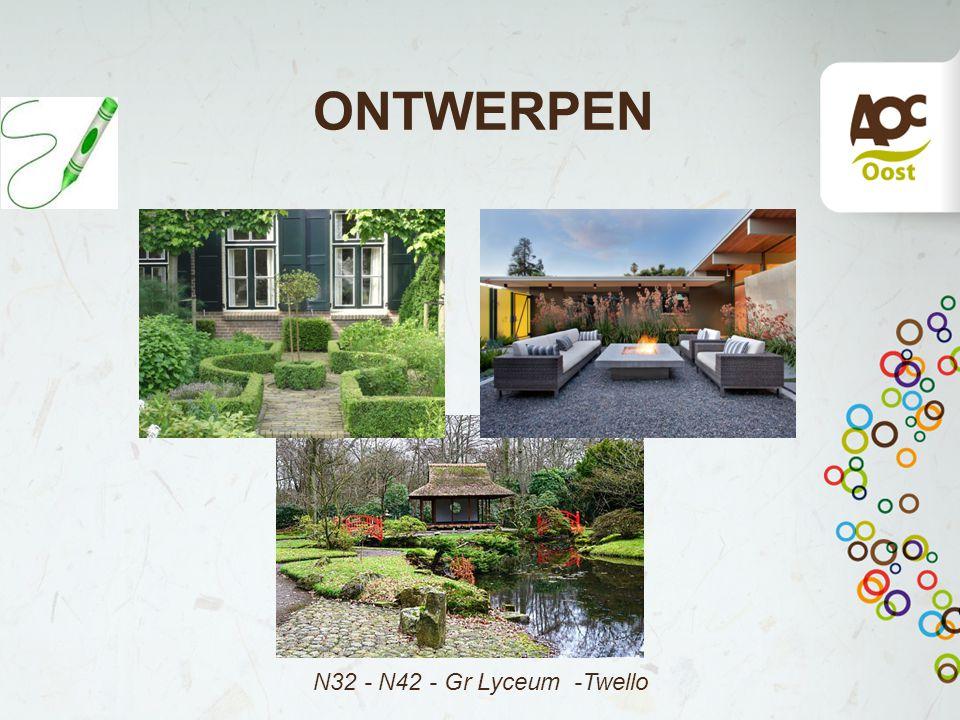 3.3 Tuinstijlen Japanse tuin Ontwerp - tuinstijlen Vormgeving:* Asymmetrie, contrast * Diepte, perspectief (omgeving erbij) 'oneindigheid' Onderdelen:* Water > 'leven' * Steen > 'rust' * Groen > 'natuur' Materialen:Grind/split, wintergroene en bladverliezende planten Prielen, bruggetjes, ornamenten