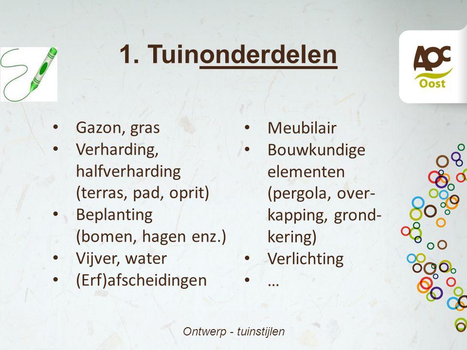 1. Tuinonderdelen Ontwerp - tuinstijlen Gazon, gras Verharding, halfverharding (terras, pad, oprit) Beplanting (bomen, hagen enz.) Vijver, water (Erf)