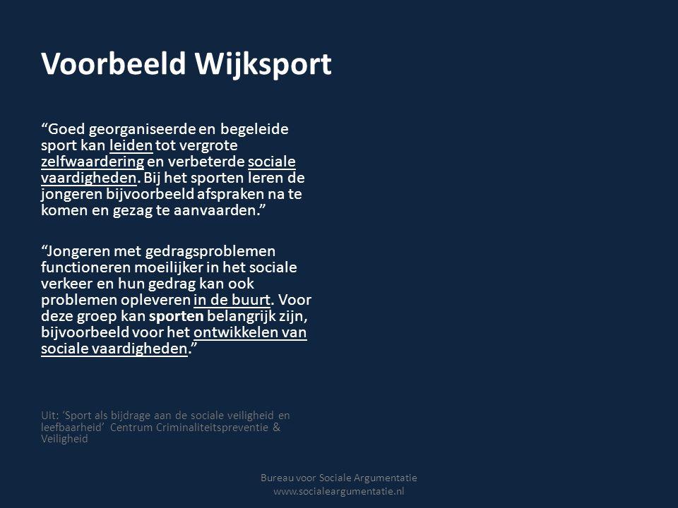 Interventietheorie Wijksport Bureau voor Sociale Argumentatie www.socialeargumentatie.nl Risicojongeren worden betrokken bij sport Jongeren gaan zich beter gedragen in de buurt Omgangsvormen verbeteren, conflicten de- escaleren Leefbaarheid verbetert