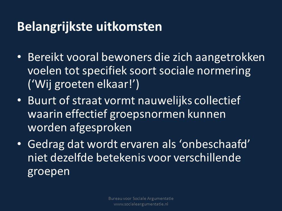 Belangrijkste uitkomsten Bereikt vooral bewoners die zich aangetrokken voelen tot specifiek soort sociale normering ('Wij groeten elkaar!') Buurt of s