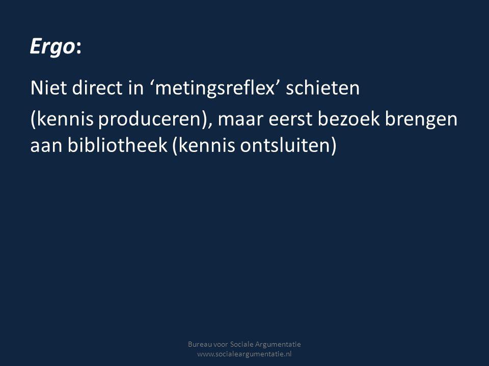 Voorbehouden Toetsing zegt vooral iets over slagingskans maatregelen (plausibiliteit), niet over feitelijke impact Politieke realiteiten stellen grenzen Wetenschap niet de enige legitimatiebron van beleid Bureau voor Sociale Argumentatie www.socialeargumentatie.nl