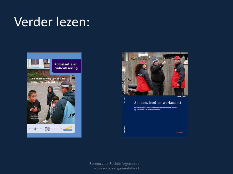 Verder lezen: Bureau voor Sociale Argumentatie www.socialeargumentatie.nl
