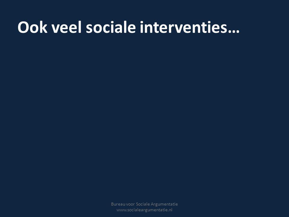 Maar… Weinig bekend over effectiviteit Moeilijk te evalueren Slagingskans hangt af van geldigheid onderliggende assumpties (interventietheorie) Bureau voor Sociale Argumentatie www.socialeargumentatie.nl