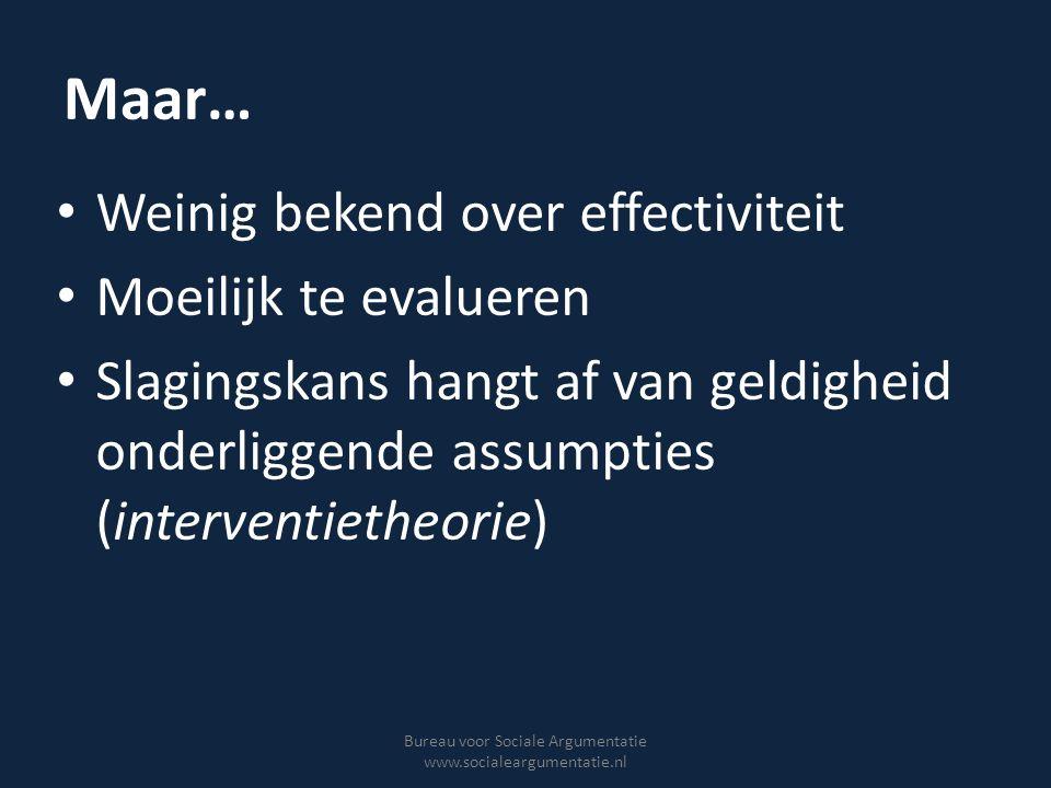 Maar… Weinig bekend over effectiviteit Moeilijk te evalueren Slagingskans hangt af van geldigheid onderliggende assumpties (interventietheorie) Bureau
