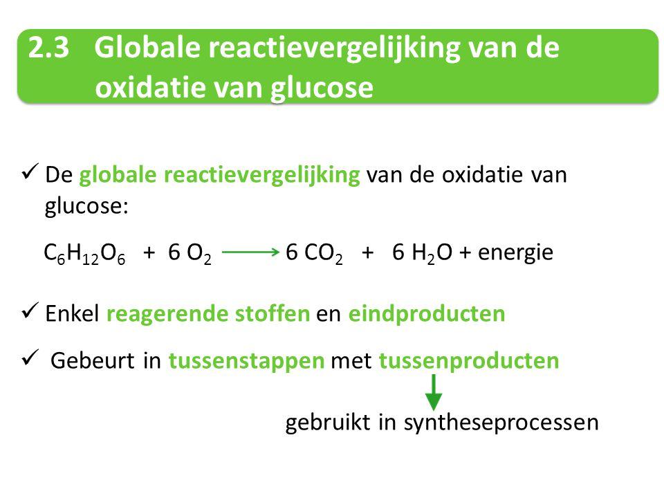 2.3Globale reactievergelijking van de oxidatie van glucose 2.3Globale reactievergelijking van de oxidatie van glucose De globale reactievergelijking v